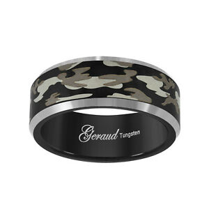 Tungsten Black Camouflage Military Beveled Edge Mens Comfort-fit 8mm Sizes 7 - 1