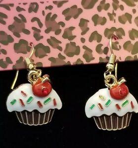 New White Enamel Cute Cherry Cake Crystal Betsey Johnson Women Stand Earrings