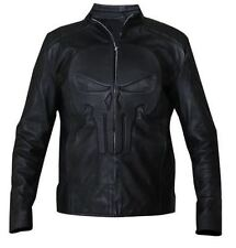 Men's Punisher Embossed Skull Emblem Black Biker Faux Leather Jacket