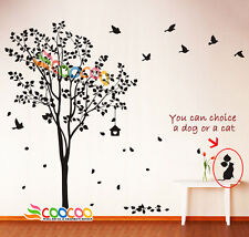 """Wall Decor Decal Sticker Removable vinyl large tree 72""""H with dog OR cat & birds"""