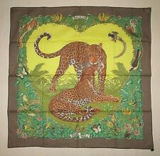 HERMES COTTON SCARF JUNGLE LOVE TIGERS BIRDS SIGNED R DALLET TAG CHARM NEW & BOX
