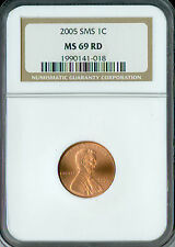 2005 LINCOLN CENT NGC MS 69 RED SMS FINEST REGISTRY .