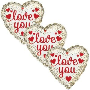 3 pc Gold Dots I Love You Heart Happy Valentines Day Balloon Bouquet Kiss