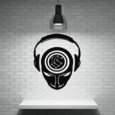 Wall Sticker Music People Headphones Brain Activity Record DJ Vinyl Decal (n341)