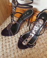 NEW Ravel Plum Suede Look T Bar Sequin Ankle Strap High Heel Sandals UK 7 EU 40
