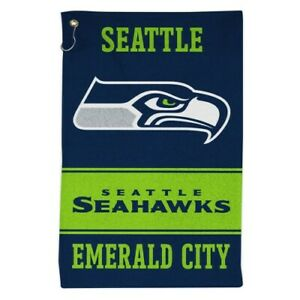 """SEATTLE SEAHAWKS ALL-PURPOSE GOLF TAILGATE TOWEL 16""""X25"""" WITH HOOK AND GROMMET"""