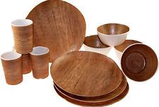 12 Piece Pine Wood Effect Melamine Complete Dining Set (Plates Bowls Cups)