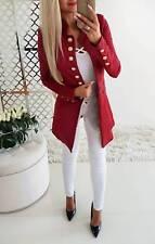 UK Womens Ladies Long Sleeve Blazer Open Front Suit Long Jacket Coat Size 10-16