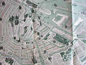 Amsterdam Holland c.1920's Vintage Europe City Plan cartoon style buildings