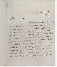 lettre autographe signée Jacques Emile Blanche, 1916,