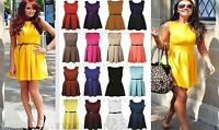 Ladies Womens Sleeveless Flared Belted Skater Party Dress Top Plus Size UK 8-26