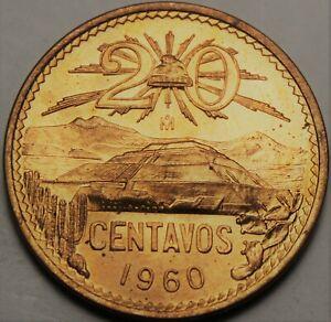 Mexico 20 Centavos, 1960 Gem UNC ~ Pyramide En Teotihuacan ~ Volcanos