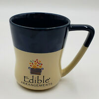 Edible Arrangements Blue Beige CollectIble Coffee Mug Cup Colorful Flowers 16 Oz