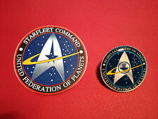 STAR TREK, `STARFLEET COMMAND` SILVER PLATED BADGE &  FREE PHONE STICKER