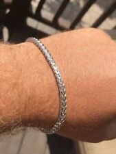 """Men's Thick 4mm Franco Bracelet Solid 925 Sterling Silver 8.5"""" 14.5g Italy Made"""