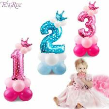 Blue Pink Number Balloon Happy Birthday Balloon 1st Birthday Party Decoration