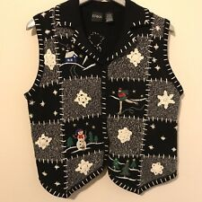 Erika Black Knit Snowman Festive Christmas Holiday Sweater Vest Sz Large