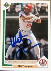 Milt Thompson Autographed 1991 Upper Deck #309