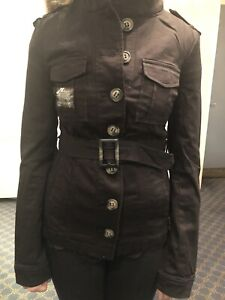 womens military style black smart fitted jacket coat size 6 8 10 Denim Club