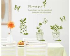 Wandtattoo Wandsticker Wandaufkleber Kleine Blumen Blumentöpfe Grün 85 x 85 W162