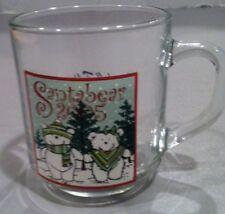 MARSHALL FIELD'S GLASS MUG 2005 SANTA BEAR CHRISTMAS HOLIDAY