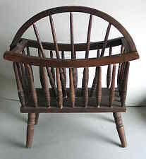 Wagon Wheel Design Vintage Solid Dark Wood Magazine Rack Western FREE SH
