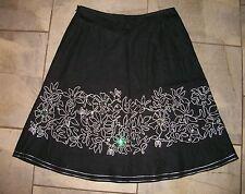 725  Rafaella Black Linen Full Skirt with White Embroidery Border 12