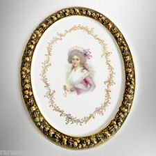 R P M porcelain plaque with gold rim and portrait - FREE SHIPPING
