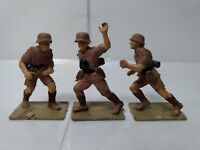 """Set Of 3 Brown Plastic Model Diorama Army Soldier 2"""" Figures  t2009"""