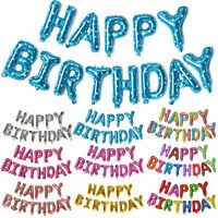 Happy Birthday Balloons Banner Bunting Letters Foil Balloon Party Decorations