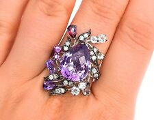 LeVian Ring Amethyst Chocolate Diamonds Quartz Rhodolite 7.25cttw 14k white gold