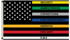 Thin Multi Line Flag Red Blue Green Support Police Fire USA 3x5ft banner