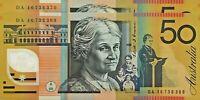 $50 2016 Last Prefix DA1673369 - 70 UNc banknotes Australian (virus free zone)
