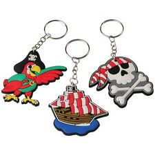 12 Pirate Jolly Roger Keychains Kid Party Goody Loot Bag Filler Favor Supply