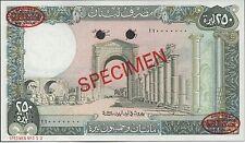 Lebanon , 250 Lira  , 1.9.1987 , P 67es , De La Rue Specimen , Rare
