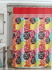 PERI FLORAL BURST BAYBERRY ORANGE PINK GREEN -  FABRIC SHOWER CURTAIN - NEW