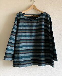 Eileen Fisher Woman Stripe Organic Linen Top in Green/Blue Size 1X
