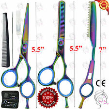 "Hairdressing Barber Scissors,Thinning Scissors,Thinning Razor 5.5"" Rainbow Style"