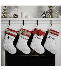 Embroidered Personalized White, Quilted, Farmhouse Christmas Stocking