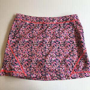 Lady Hagen Golf Skort Pink Abstract Zipper Hip Pockets Size 14