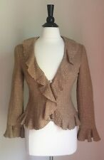 TRINA TURK RUFFLE WOOL BLAZER TWEED USA | Yellow Mustard Brown Color