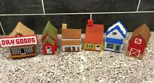 Vtg Plastic Canvas Needlepoint Christmas Village Town Finished Church Store Barn