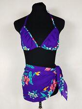 VTG 70s Hilo Hattie Medium Bikini Top Swim Cover Up Skirt Floral Hawaiian Set