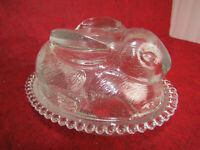 Vintage Indiana Glass Bunny Shaped Lidded Candy Dish