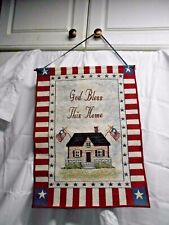 God Bless America Cloth Tapestry Plaque 17 x 13 CUTE