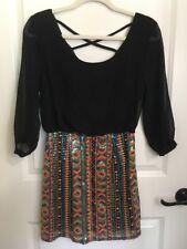 Dani Collection Small Womens Sequin Dress Black Club VLV Boutique Aztec New