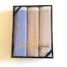 Brooks Brothers Mens Handkerchiefs Heather Blue Beige Brown 3 Pk 100% Cotton