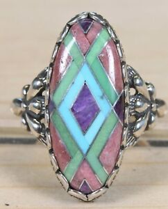 Carolyn Pollack Relios Sterling Silver and Turquoise Inlay Size 9.5 Ring 270A