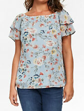 Evans ladies blouse top shirt plus size 20 22 24 26 28 light blue floral