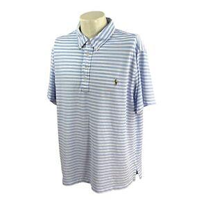 Ralph Lauren Polo Men's Knit Oxford Mesh Short Sleeve Blue Stripe Polo Shirt 2XB